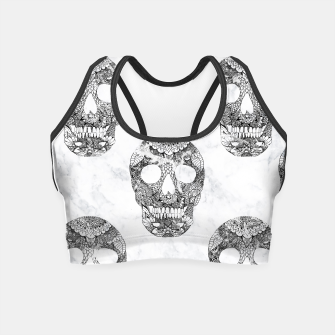 Miniatur Modern hand drawn floral lace black marble skulls pattern Crop Top, Live Heroes