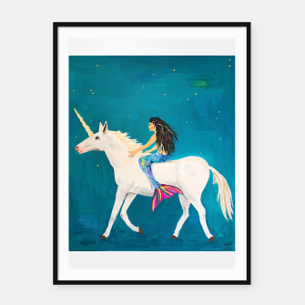 Miniatur Mermaids and Unicorns Framed poster, Live Heroes