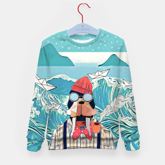 Miniatur Walrus and the paper boats Kid's Sweater, Live Heroes