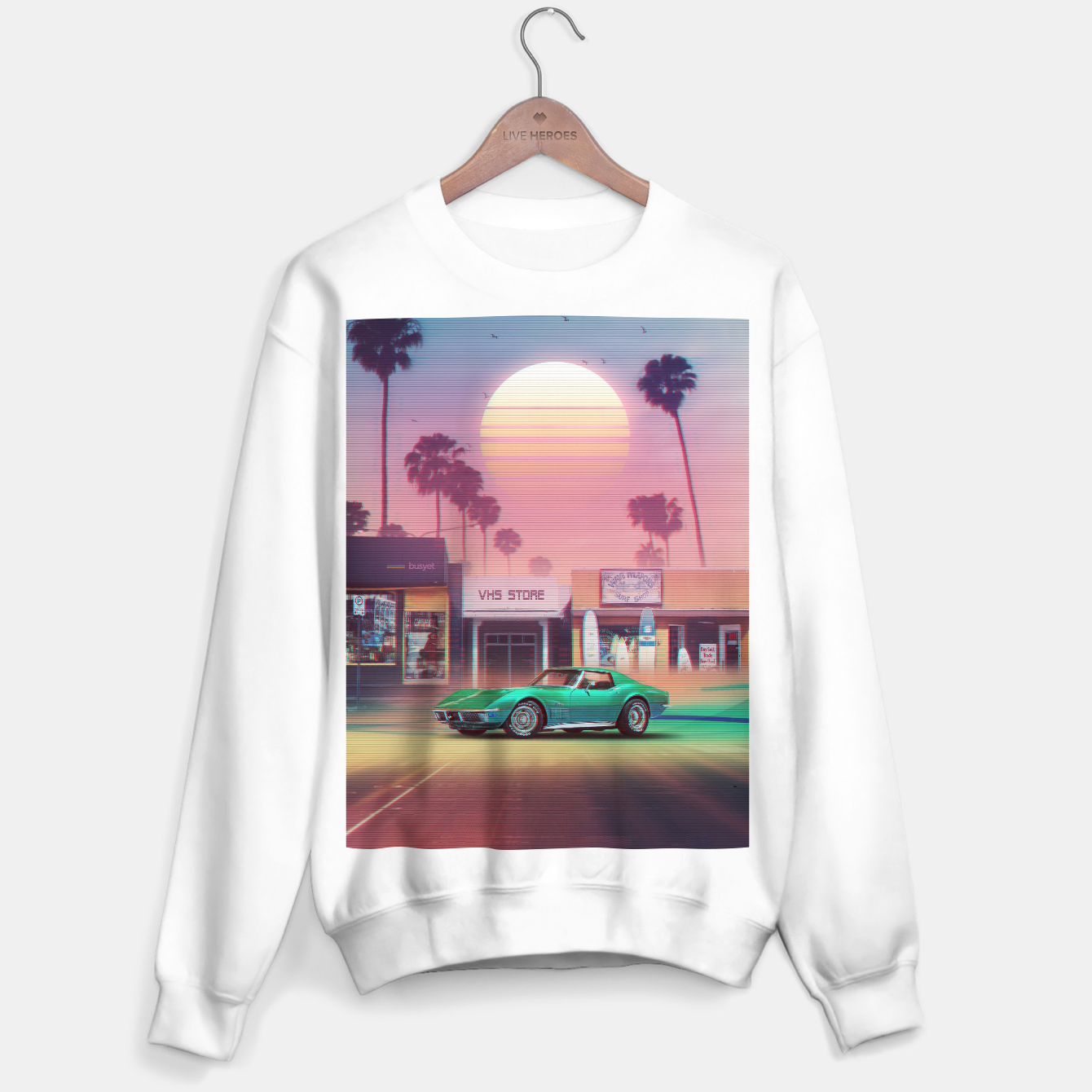 Image of Synthwave Sunset Drive Sweater regular - Live Heroes