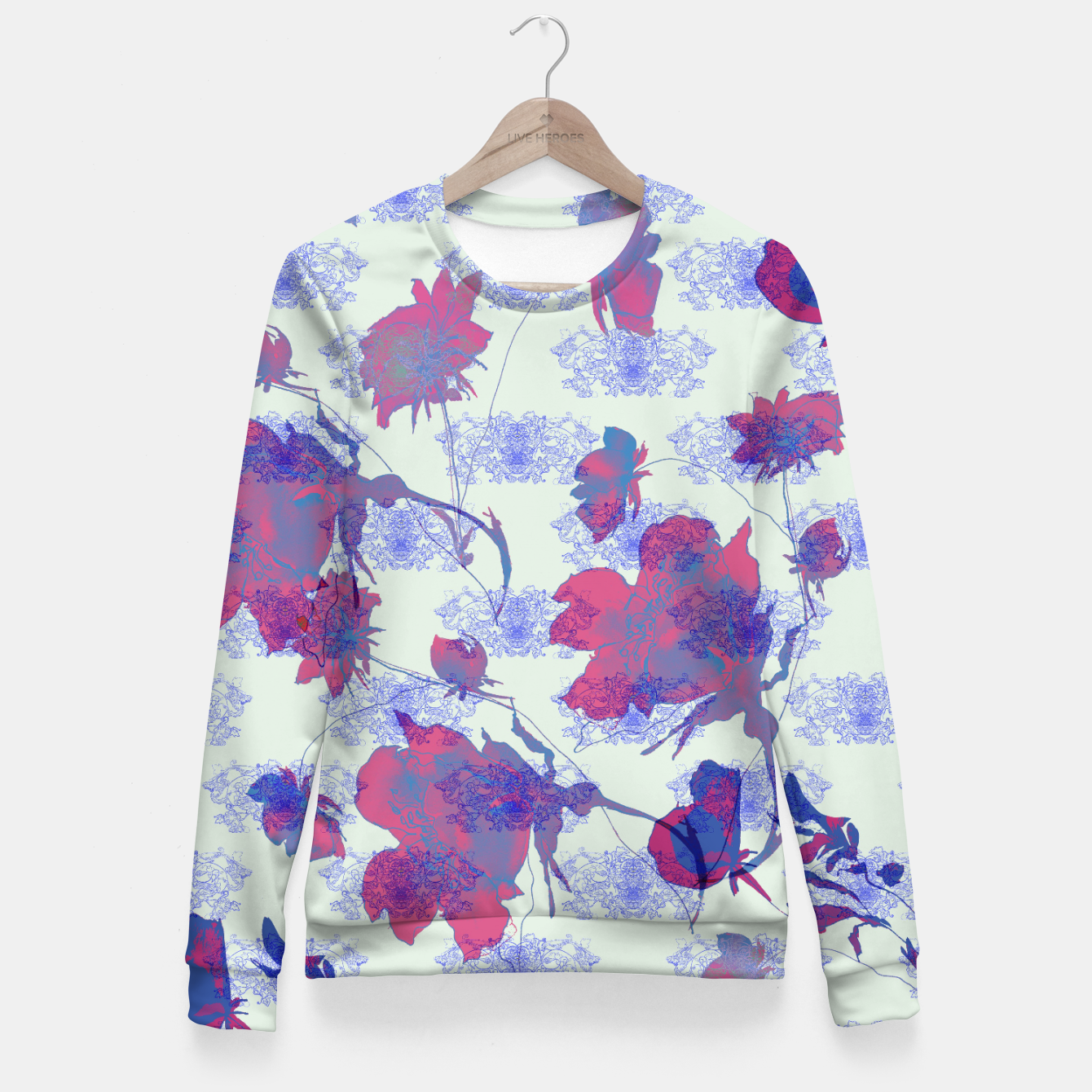 Image of Floral in orient Fitted Waist Sweater - Live Heroes