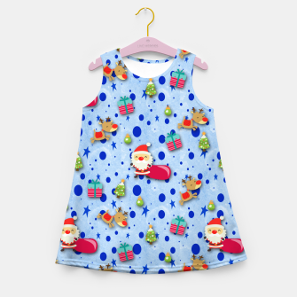 Thumbnail image of Blue Christmas Santa Pattern Girl's Summer Dress, Live Heroes