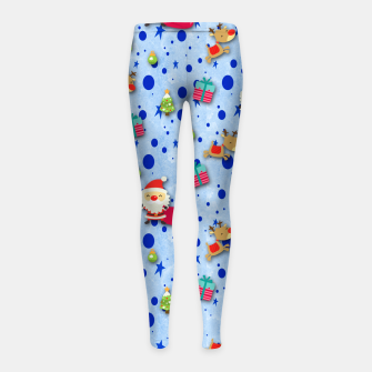 Thumbnail image of Blue Christmas Santa Pattern Girl's Leggings, Live Heroes