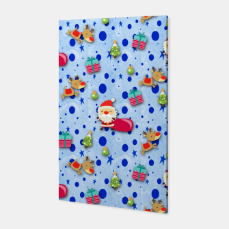 Thumbnail image of Blue Christmas Santa Pattern Canvas, Live Heroes