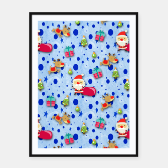Thumbnail image of Blue Christmas Santa Pattern Framed poster, Live Heroes