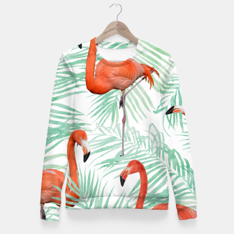 Thumbnail image of Flamingo & Mint Palm Fitted Waist Sweater, Live Heroes