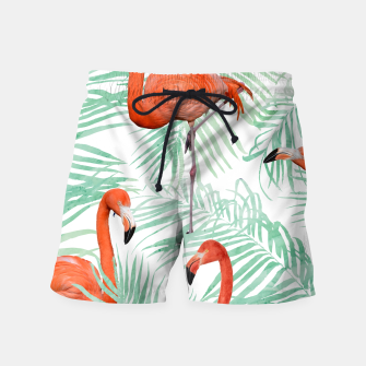 Thumbnail image of Flamingo & Mint Palm Swim Shorts, Live Heroes