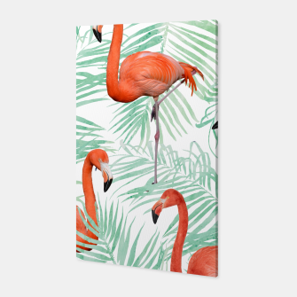 Thumbnail image of Flamingo & Mint Palm Canvas, Live Heroes