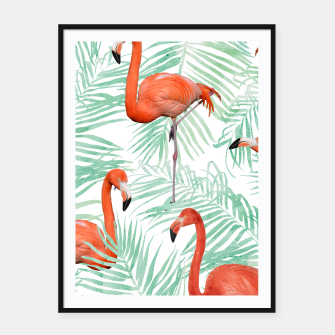 Thumbnail image of Flamingo & Mint Palm Framed poster, Live Heroes