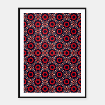 Thumbnail image of Navy and Red Stylized Roses Framed poster, Live Heroes