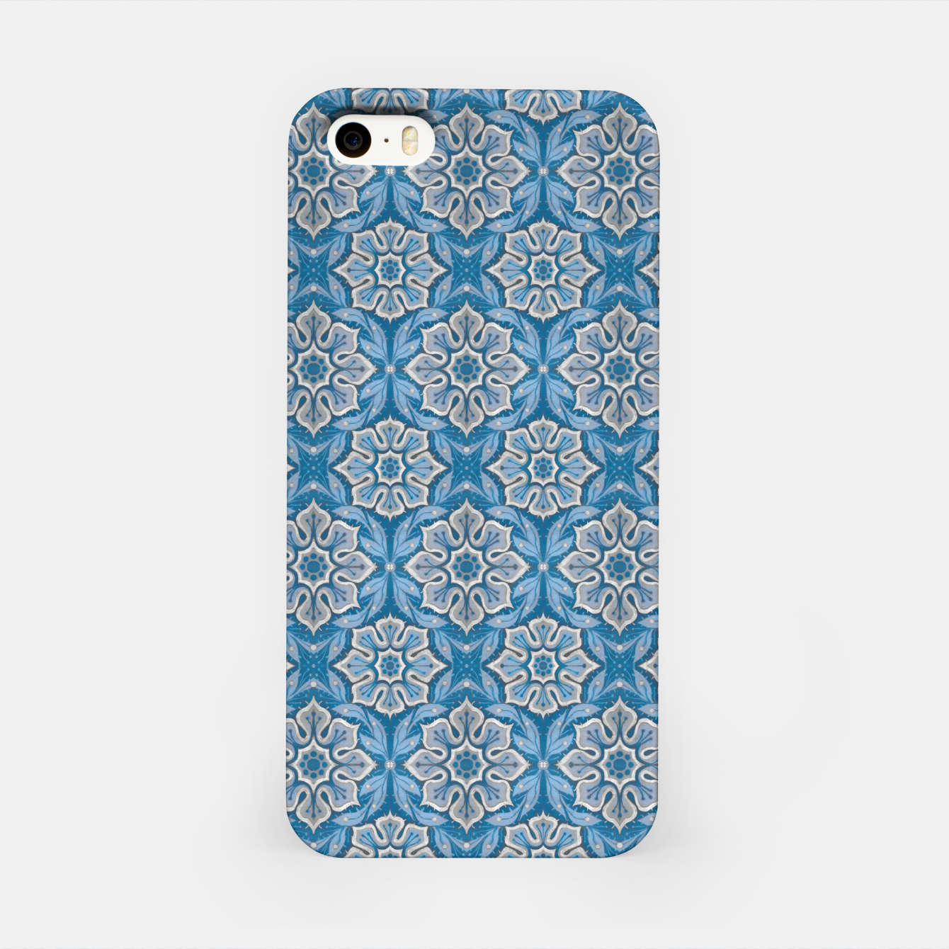 Image of Snow Flower Blue & Gray Pattern iPhone Case - Live Heroes