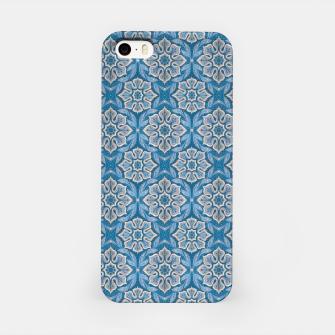 Snow Flower Blue & Gray Pattern iPhone Case thumbnail image