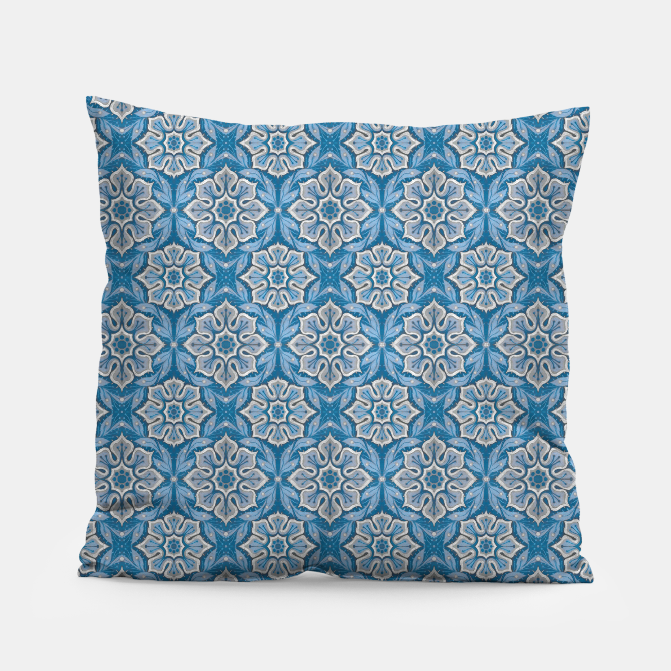 Image of Snow Flower Blue & Gray Pattern Pillow - Live Heroes
