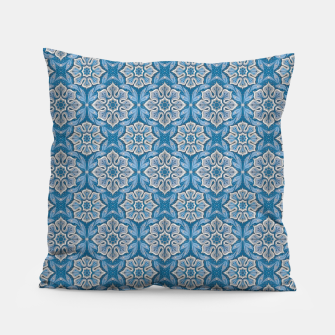 Snow Flower Blue & Gray Pattern Pillow thumbnail image