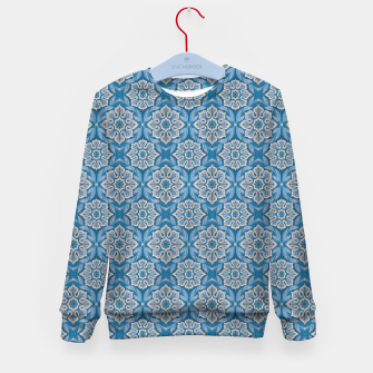 Snow Flower Blue & Gray Pattern Kid's Sweater thumbnail image