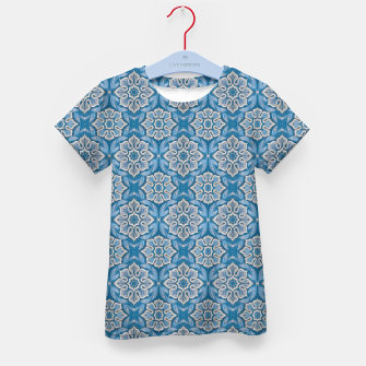 Snow Flower Blue & Gray Pattern Kid's T-shirt thumbnail image