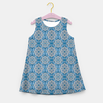 Thumbnail image of Snow Flower Blue & Gray Pattern Girl's Summer Dress, Live Heroes