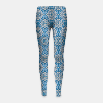 Thumbnail image of Snow Flower Blue & Gray Pattern Girl's Leggings, Live Heroes