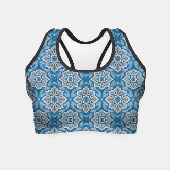 Snow Flower Blue & Gray Pattern Crop Top thumbnail image