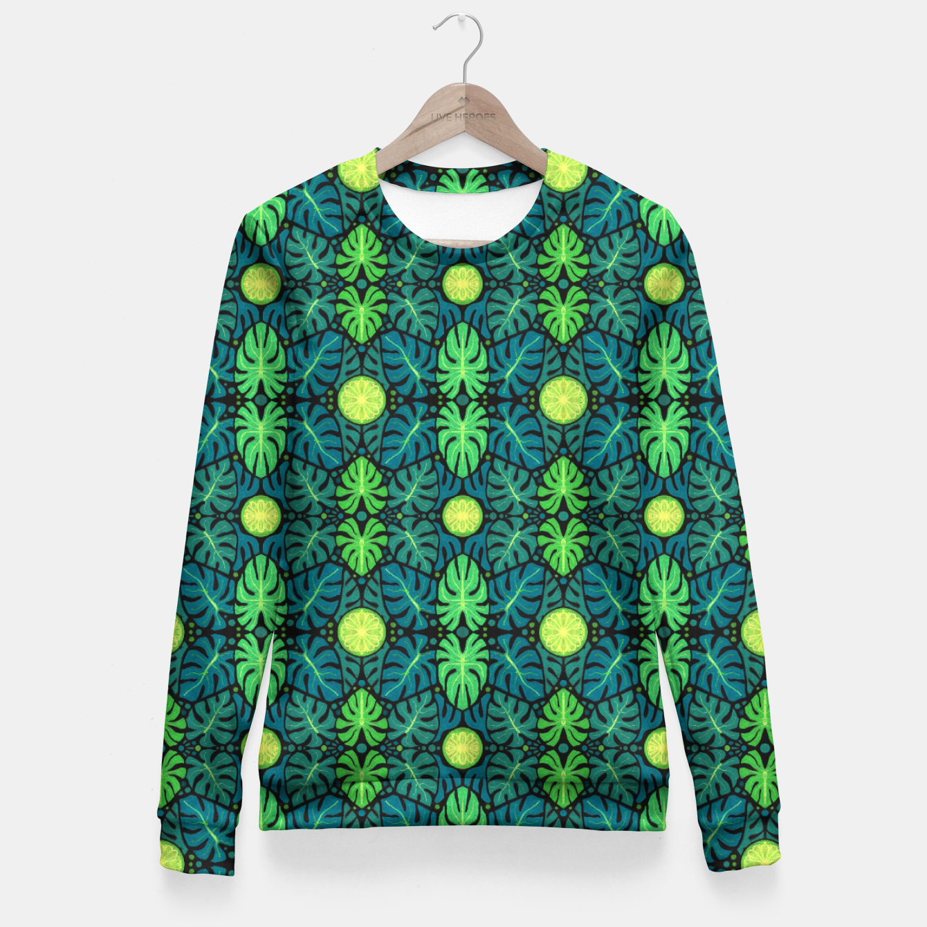 Image of Monstera leaves floral pattern Fitted Waist Sweater - Live Heroes