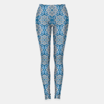Thumbnail image of Snow Flower Blue & Gray Pattern Leggings, Live Heroes