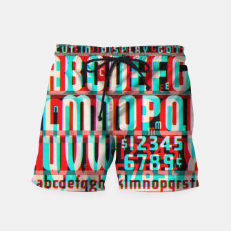 Thumbnail image of Gothic Cut Typo Glitch Version Swim Shorts, Live Heroes