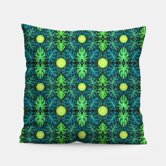 Monstera leaves floral pattern Pillow thumbnail image