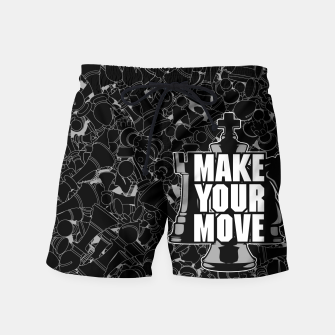 Thumbnail image of Make Your Move Chess Swim Shorts, Live Heroes