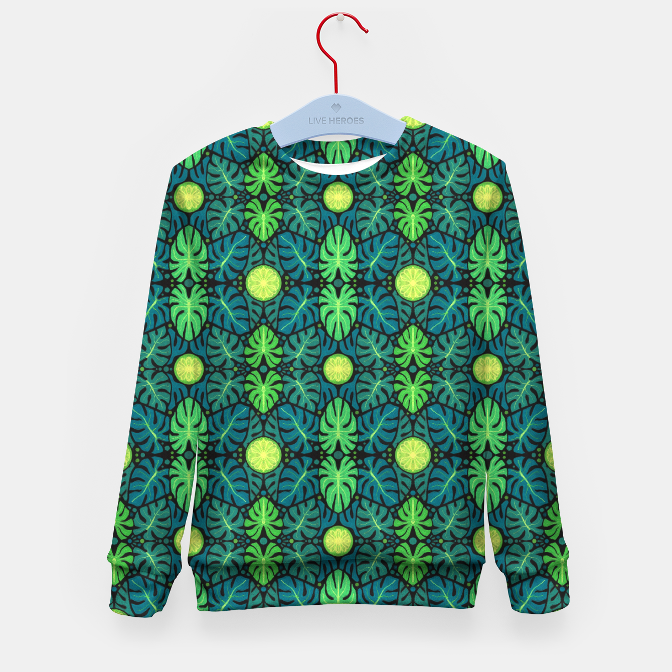Image of Monstera leaves floral pattern Kid's Sweater - Live Heroes