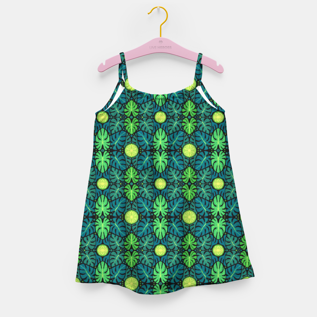 Image of Monstera leaves floral pattern Girl's Dress - Live Heroes