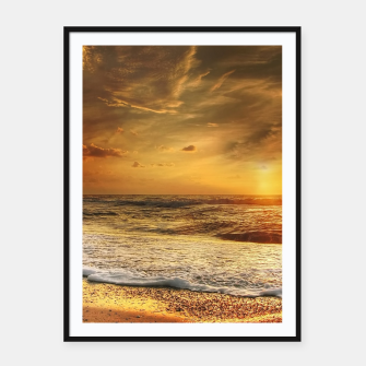 Thumbnail image of Beautiful California summer beach at sunset time Framed poster, Live Heroes