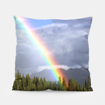Thumbnail image of Gorgeous rainbow at beautiful cloudy summer day Pillow, Live Heroes