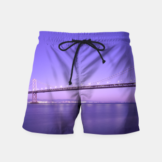 Thumbnail image of Magnificent San Francisco–Oakland Bay Bridge California at spectacular sunset Swim Shorts, Live Heroes