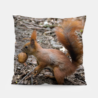 Miniatur Cute squirrel eating nut Pillow, Live Heroes