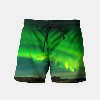 Thumbnail image of Beautiful Green Iceland northern lights Swim Shorts, Live Heroes