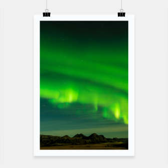 Thumbnail image of Beautiful Green Iceland northern lights Poster, Live Heroes