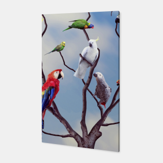 Thumbnail image of Colorful tropical exotic parrots sitting on the tree Canvas, Live Heroes