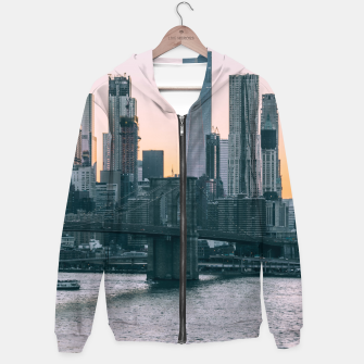 Thumbnail image of Brooklyn Bridge and downtown Manhattan New York at sunset Hoodie, Live Heroes