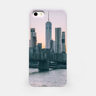 Thumbnail image of Brooklyn Bridge and downtown Manhattan New York at sunset iPhone Case, Live Heroes