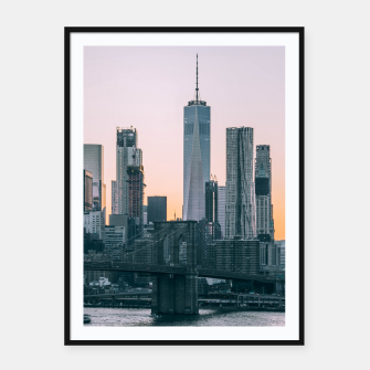 Thumbnail image of Brooklyn Bridge and downtown Manhattan New York at sunset Framed poster, Live Heroes