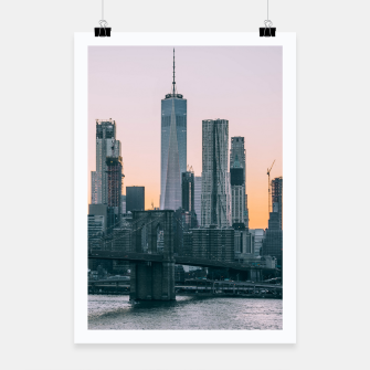 Thumbnail image of Brooklyn Bridge and downtown Manhattan New York at sunset Poster, Live Heroes