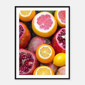 Thumbnail image of Colorful tropical healthy fruits Framed poster, Live Heroes