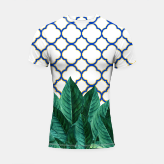 Thumbnail image of Leaves and Tiles Shortsleeve Rashguard, Live Heroes