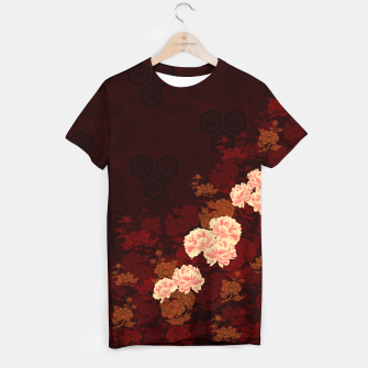 Thumbnail image of Japanese traditional emblem Kamon decoration Peony. T-shirt, Live Heroes