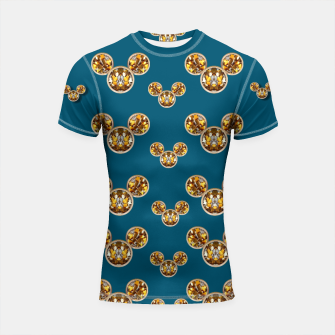Thumbnail image of This is a wood cartoon circle mouse Shortsleeve Rashguard, Live Heroes
