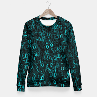 Thumbnail image of Binary Data Cloud Fitted Waist Sweater, Live Heroes
