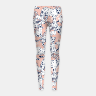 Thumbnail image of Leopards in the pink jungle Leggings para niña, Live Heroes