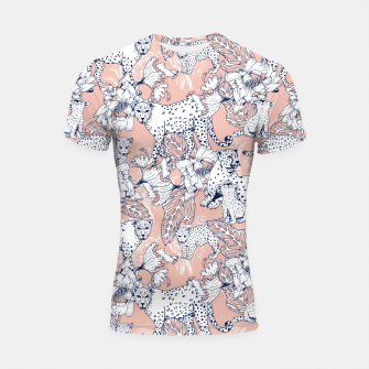 Thumbnail image of Leopards in the pink jungle Shortsleeve Rashguard, Live Heroes