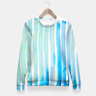 Thumbnail image of New Year Blue Water Lines Fitted Waist Sweater, Live Heroes