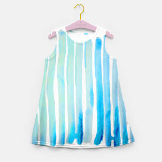 Thumbnail image of New Year Blue Water Lines Girl's Summer Dress, Live Heroes